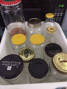 Miscellaneous Glass Jars w Lids