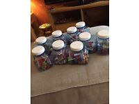 9 X blue van containers / sweets baby shower party
