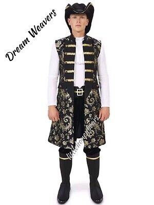 Complete Pirate Costume Ruffled Shirt Vest Pants Hat  & Boot Covers Halloween Lg](Frilly Pirate Shirt)