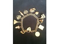 9ct CHARM BRACELET ,INCL 12 charms ,some rare ,double curb with locket fastening and safety chain