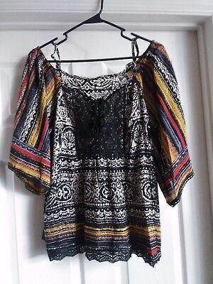 Angie Women Top Blouse Boho Printed Embroidery Bohemian Nwt