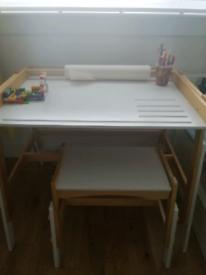 Wooden children desk and stool