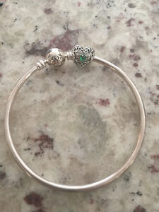 Pandora Sterling Silver Bangle and Charm - brand new!