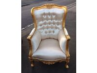 Rococo French Style Gold Armchair.