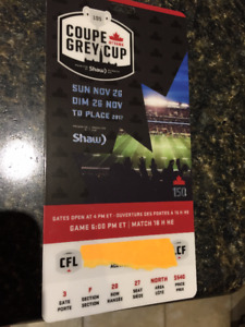 Grey Cup Ticket (NORTH side Sec F Row 20 Seat 27) Face Value 540