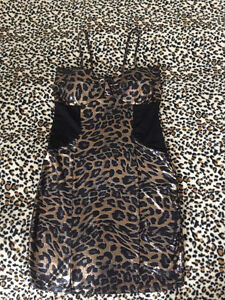 Leopard Print Mini Dress- Size Small