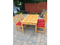 Wooden farm house table/chairs