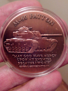 LARGE 40mm M-60 PATTON UNITED STATES ARMY COIN.