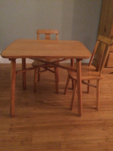 Solid wood childs table and chairs set