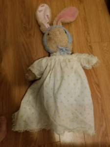 Bunny soft animal toy with hand knit clothing