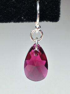 Sterling Silver Swarovski Crystal Earrings - Ruby Windsor Region Ontario image 2