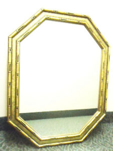 Hollywood Regency Large Octagon Gesso Gold Bamboo Wall Mirror