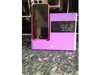 KS iPhone/ iPod clock radio speaker dock purple
