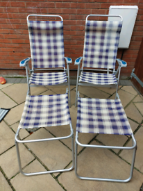Folding reclining chairs and leg rests caravan awning