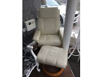 Cream leather massage chair