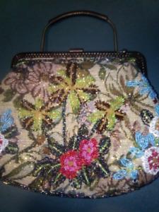Antique glass beaded purse