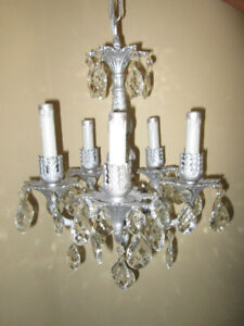 Silver Tone Spanish Made Antique Chandelier W Large Crystals