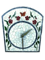 Antique Vintage Wag On Wall Clock German Italian Tile Butterfly Mosaic Flowers