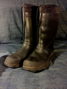 Insulated winter rubber boots.