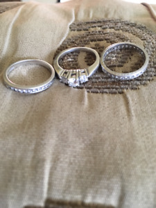 Platinum and Diamond Rings - size 5