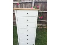 Up Cycled Solid Oak Tall Boy Chest of Drawers /Free Delivery