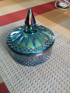 Indiana Carnival Glass Candy Dish w/lid