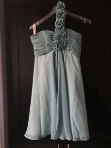 Turquoise Grey Dress (bridesmaid, prom, evening, banquet)