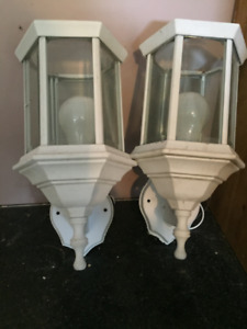 White Outdoor Light set of 2