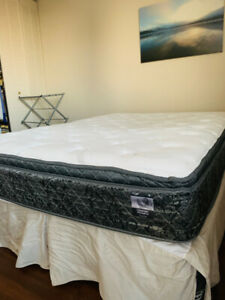 Pillow-Top Queen Mattress, Boxspring and Frame - Great Condition