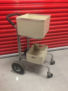 Charnstrom Solid Metal Mail Delivery Cart File Folders