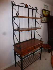 Solid Cherry Dinette and Baker's rack - Wrought Iron Accented