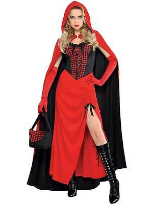 Ladies Red Riding Hood Enchantress Fancy Dress Halloween Cape Costume Size 8-20