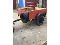 Camping 4x3 Box Trailer on Mini Wheels Locking Lid Excellent to Tow