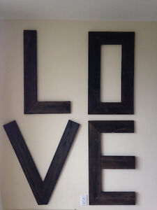 Rustic, oversized, wooden LOVE letters