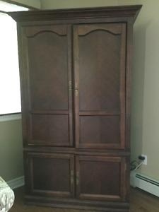 Wooden Armoire for Electronics, with storage section