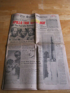 Heading to the Moon. 1969 NEWSPAPER. LAST CHANCE!! Cambridge Kitchener Area image 1