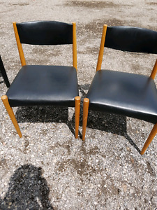 2 leather black ikea chairs