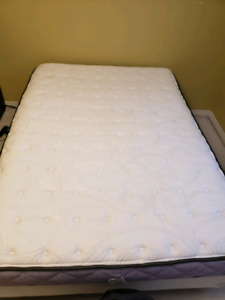 Mattress (Double) with boxspring and bed frame - pillow top