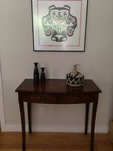 Beautiful solid mahogany bow front vanity table or desk