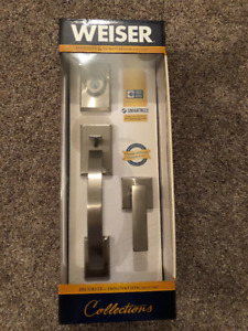 Weiser brushed nickel door handle with lock set - new in box