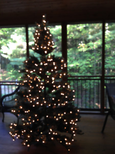 Artificial Blue Spruce Christmas Tree with Lights