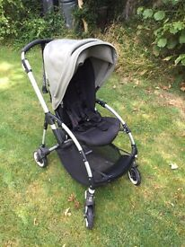 Bugaboo Bee pram (2011) with lots of accessories including raincover, snooze shade and insect cover