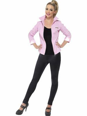 Damen Deluxe Pink Lady Jacke Kostüm Fett 50S - Fett Kostüme Uk