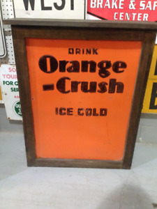 VINTAGE DRINK ORANGE CRUSH ICE COLD EMBOSSED METAL SIGN