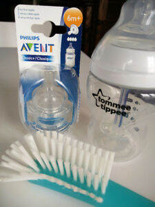 Tommee Tippee Bottle + Philips Avent Classic Nipples + Brush