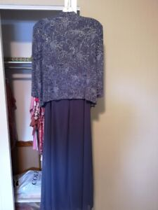Dress Formal 2 piece Jacket/Cami size 14 petite dark lilac
