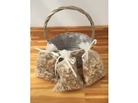 3 bags of real petal confetti and basket