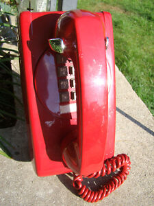 Vintage Cherry Red Wall Mount Touch Tone Phone