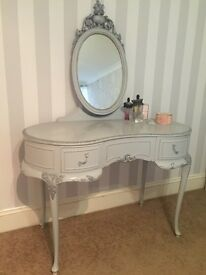 French chateau dressing table shabby chic vintage antique grey silver