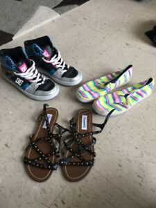 Girls D.C running shoes and Gladiator sandals